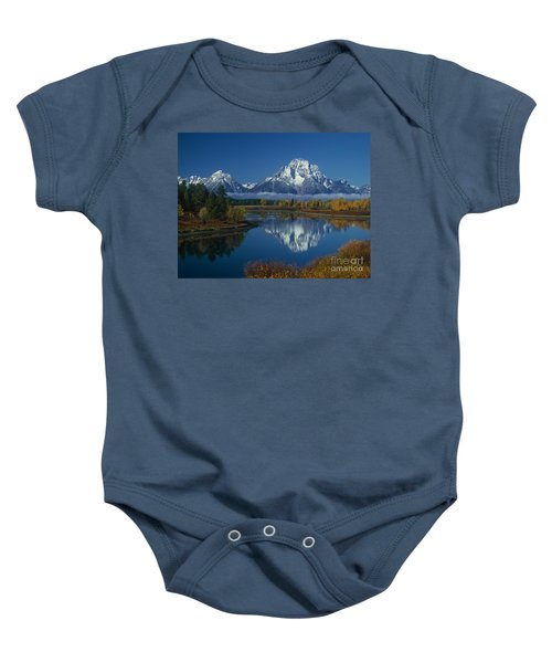 Morning Cloud Layer Oxbow Bend In Fall Grand Tetons National Park Wyoming Baby Onesie