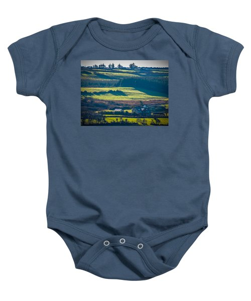 Baby Onesie featuring the photograph Morning Shadows Over Irish Countryside by James Truett