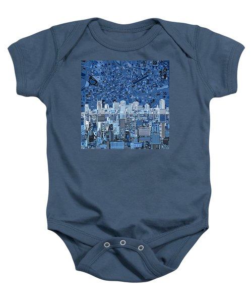 Nashville Skyline Abstract Baby Onesie by Bekim Art
