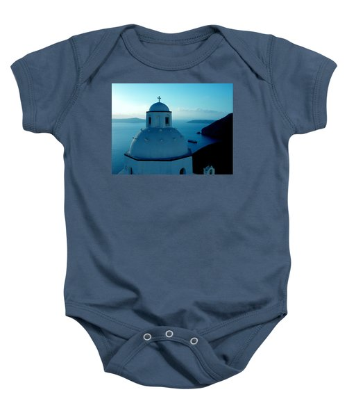 Peacefull Santorini Greek Island  Baby Onesie