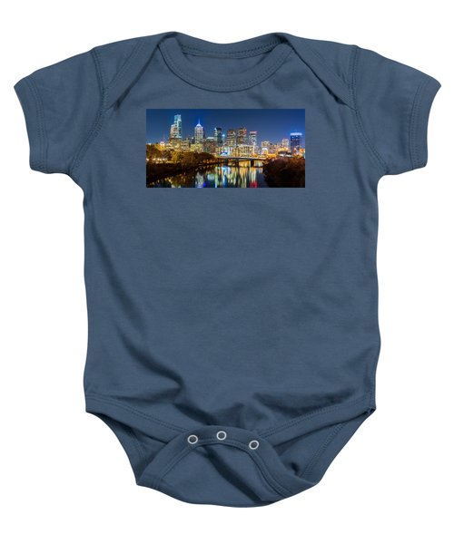 Philadelphia Cityscape Panorama By Night Baby Onesie