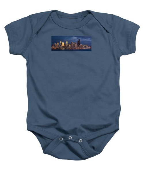 Seattle Skyline Sunset Detail Baby Onesie by Mike Reid