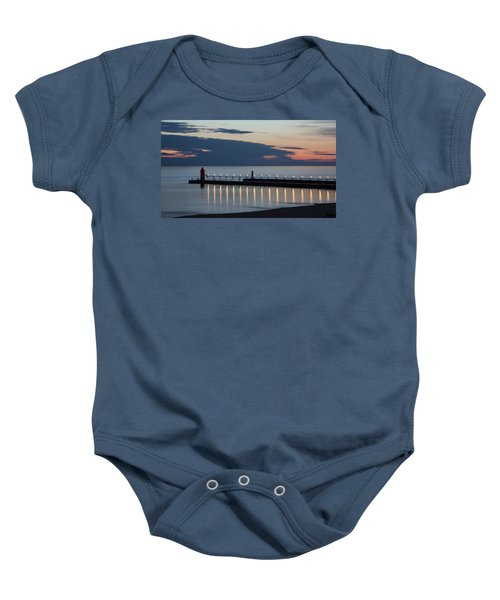 South Haven Michigan Lighthouse Baby Onesie by Adam Romanowicz