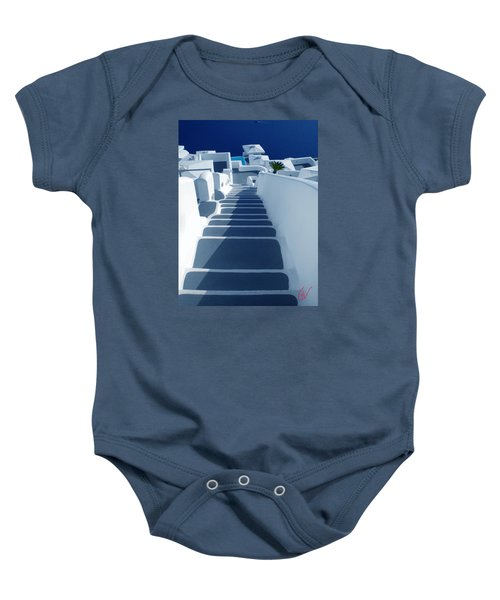 Baby Onesie featuring the photograph Stairs Down To Ocean Santorini by Colette V Hera  Guggenheim