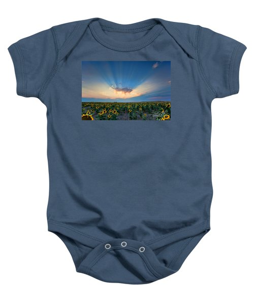 Sunflower Field At Sunset Baby Onesie