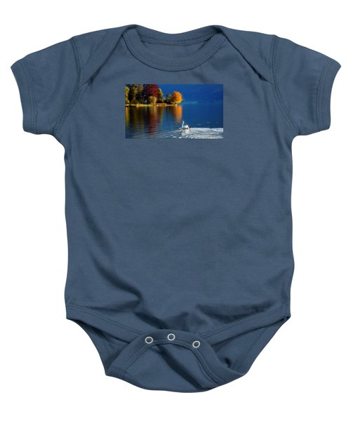 Beautiful Autumn Swan At Lake Schiliersee Germany  Baby Onesie