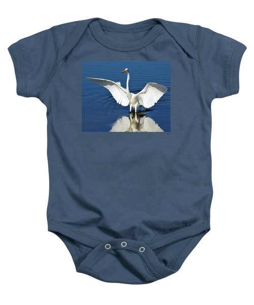 Great White Egret Spreading Its Wings Baby Onesie