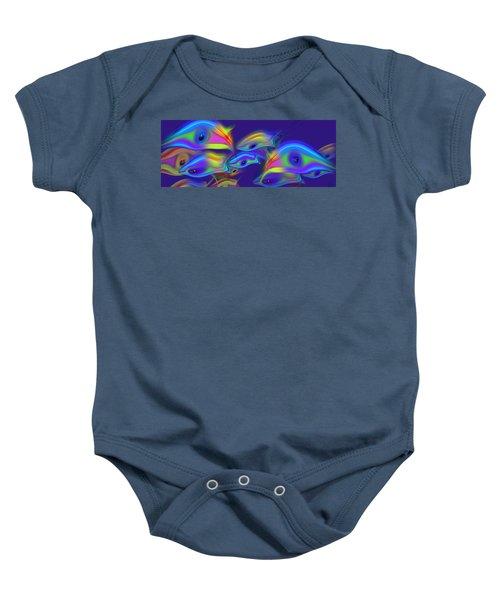 Deep Blue Marine Life Baby Onesie
