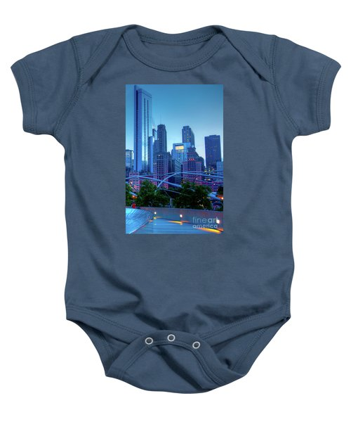 A View Of Millenium Park From The Amoco Bridge In Chicago At Dus Baby Onesie