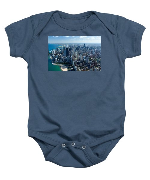 Aerial View Of A City, Lake Michigan Baby Onesie by Panoramic Images