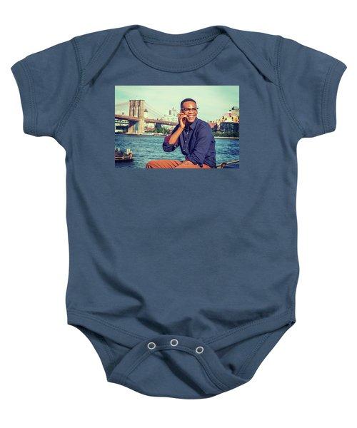 African American Man Traveling In New York Baby Onesie