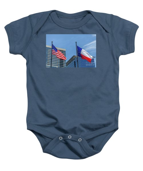 American And Texas Flag On Top Of The Pole Baby Onesie