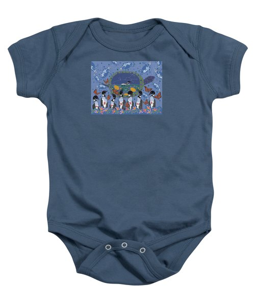 Baby Onesie featuring the painting Arrival Of Wintermaker by Chholing Taha