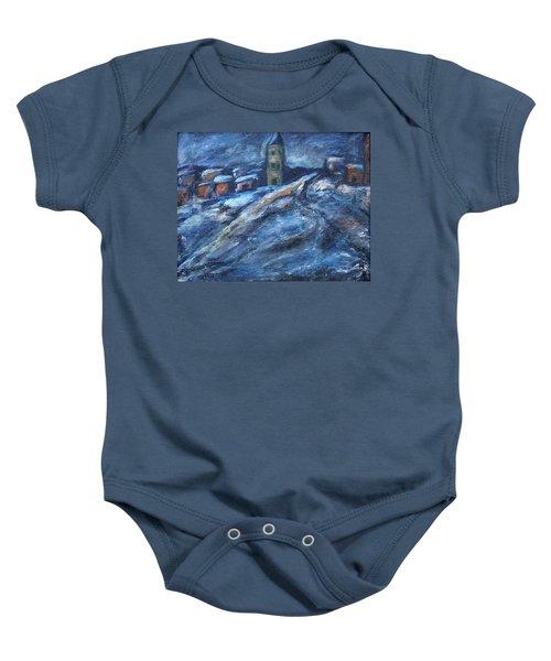 Blue Snow City Baby Onesie
