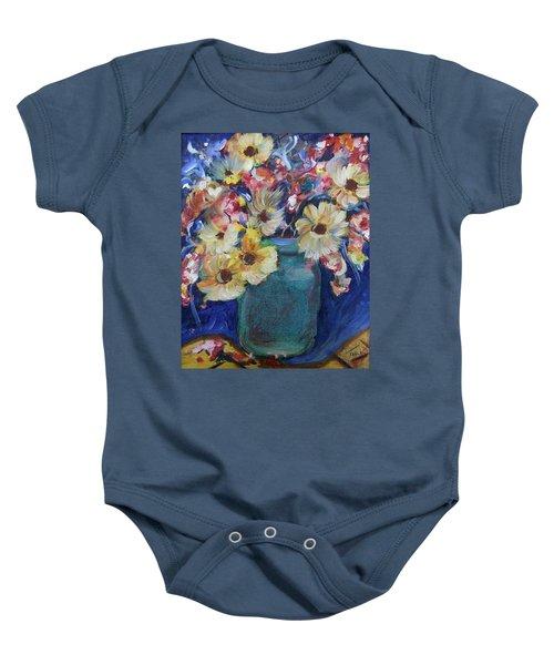 Bouquet Flowers Of Blue  Baby Onesie