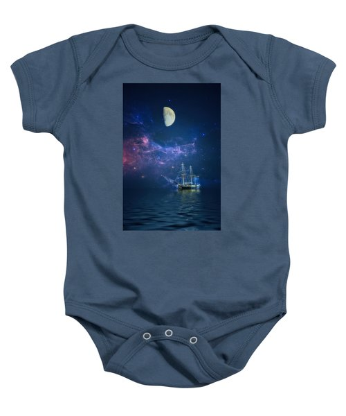 By Way Of The Moon And Stars Baby Onesie
