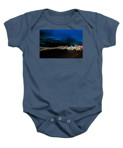 Car Light Trails At Dusk In City Baby Onesie