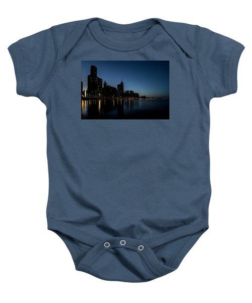 Chicago Skyline From Olive Park  Baby Onesie