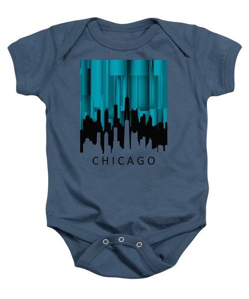 Chicago Turqoise Vertical Baby Onesie by Alberto RuiZ