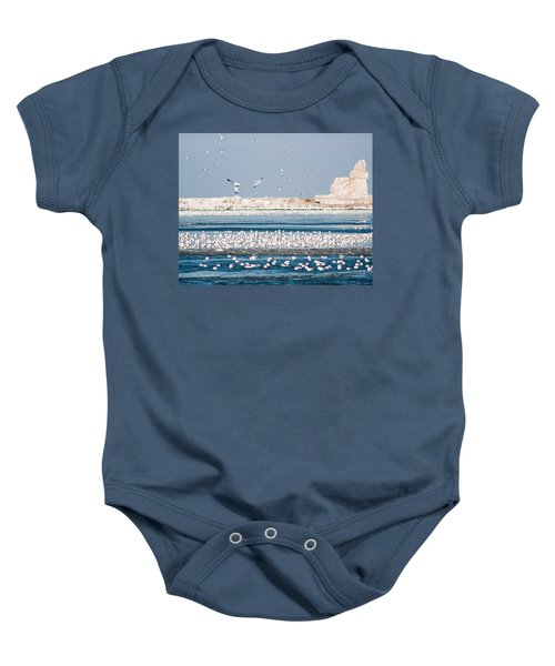 Cleveland Lighthouse In Ice  Baby Onesie