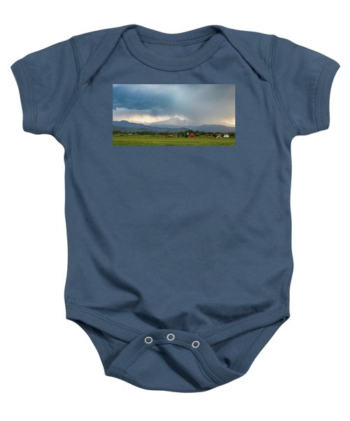 Baby Onesie featuring the photograph Colorado Rocky Mountain Red Barn Country Storm by James BO Insogna