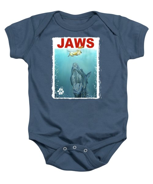 Dog-themed Jaws Caricature Art Print Baby Onesie