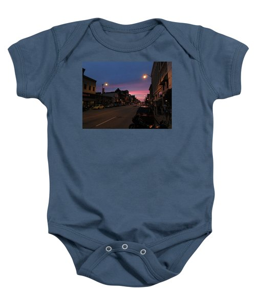 Baby Onesie featuring the photograph Downtown Racine At Dusk by Mark Czerniec