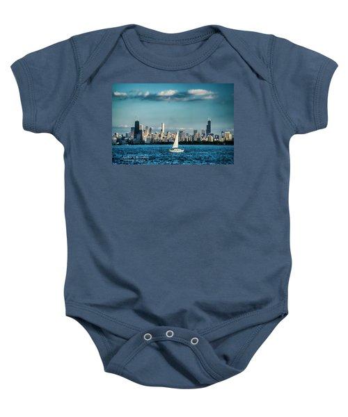 Evan's Chicago Skyline  Baby Onesie