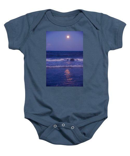 Full Moon Over The Ocean Baby Onesie