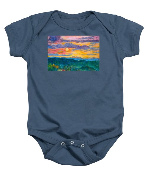 Baby Onesie featuring the painting Golden Blue Ridge Sunset by Kendall Kessler