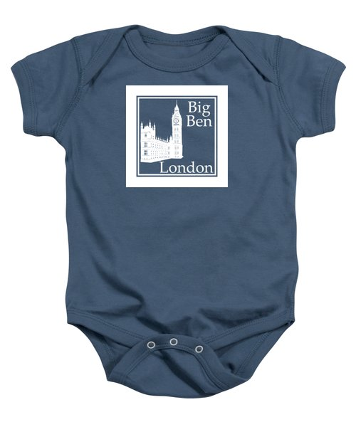 London's Big Ben In White - Inverse  Baby Onesie by Custom Home Fashions