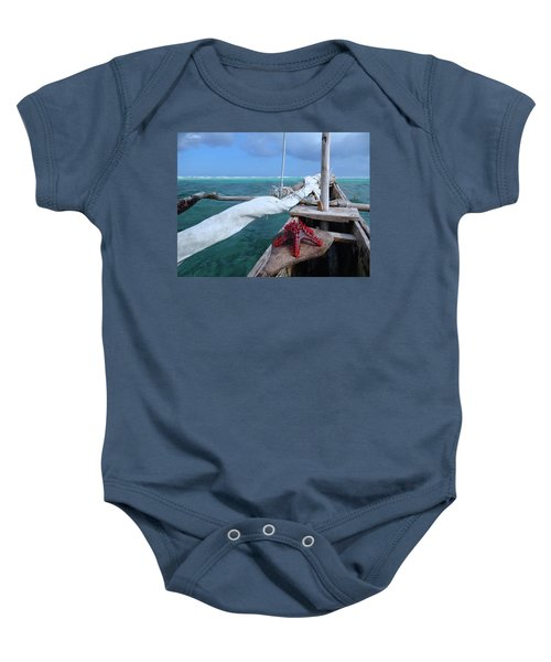 Lone Red Starfish On A Wooden Dhow 1 Baby Onesie