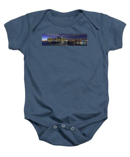 Lower Manhattan From Brooklyn Heights At Dusk - New York City Baby Onesie