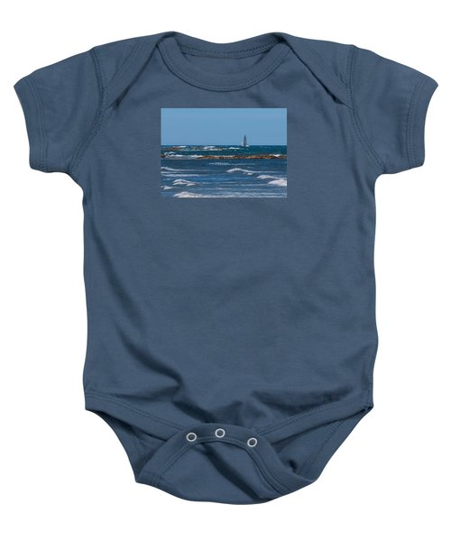 Minot Lighthouse Wave Crash Baby Onesie