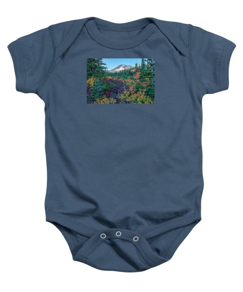 Mt Rainier With Autumn Colors Baby Onesie