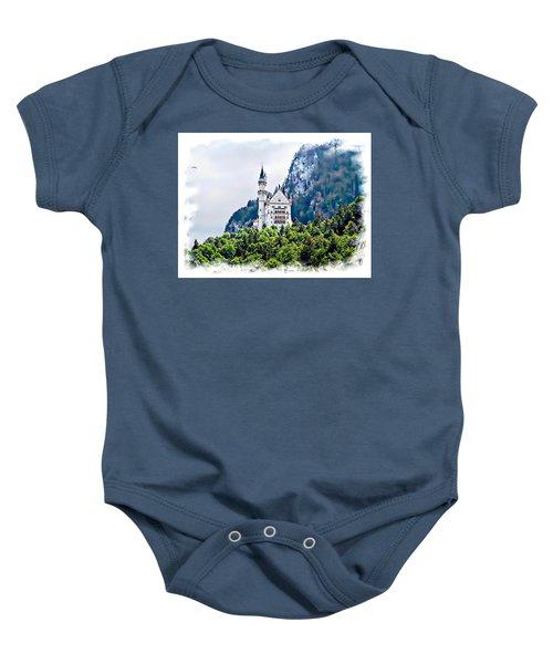 Neuschwanstein Castle With A Glider Baby Onesie