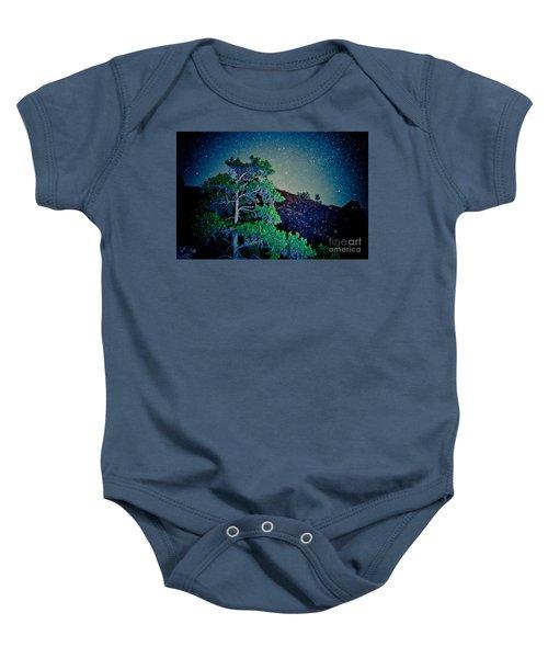 Night Sky Scene With Pine And Stars Artmif.lv Baby Onesie