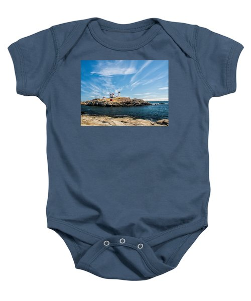 Nubble Lighthouse With Dramatic Clouds Baby Onesie