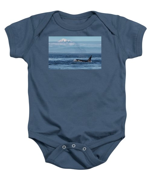 Orca Male With Mt Baker Baby Onesie