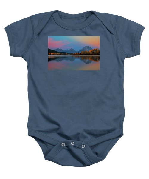 Oxbows Reflections Baby Onesie by Edgars Erglis