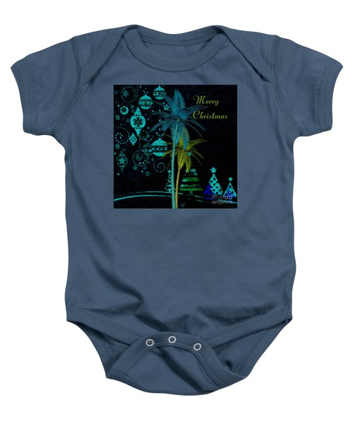 Palm Trees Merry Christmas Baby Onesie