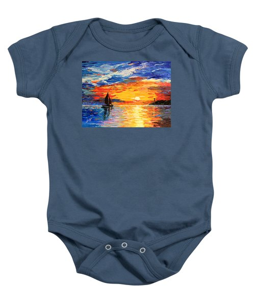 Baby Onesie featuring the painting Romantic Sea Sunset by Georgeta  Blanaru