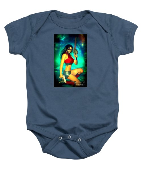 Sci-fi Brunette With Two Guns Baby Onesie