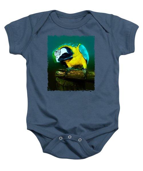 Silly Maya The Macaw Parrot Baby Onesie by Linda Koelbel