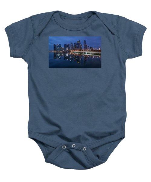 Singapore Skyline Reflection Baby Onesie