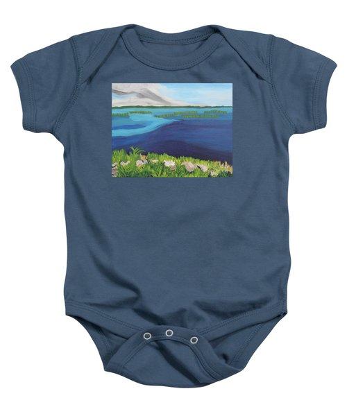 Serene Blue Lake Baby Onesie