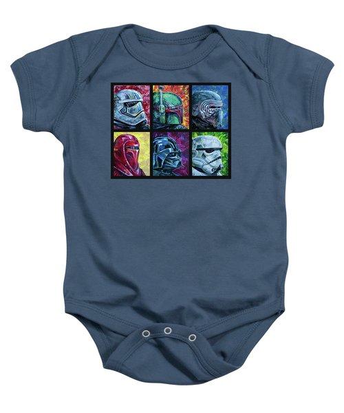 Baby Onesie featuring the painting Star Wars Helmet Series - Collage by Aaron Spong