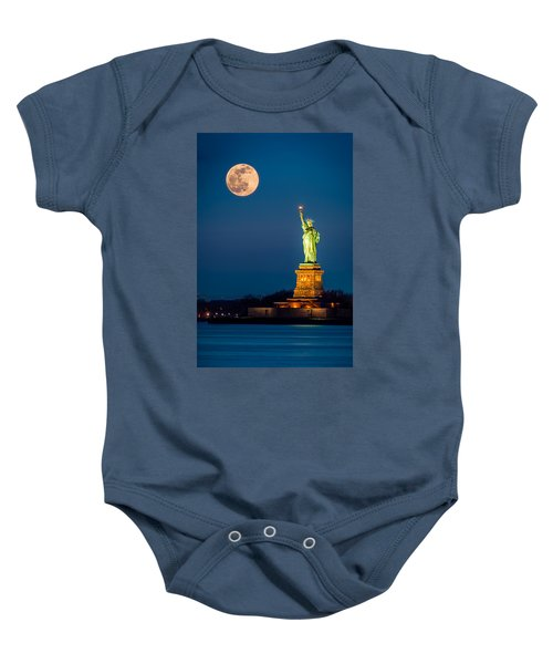 Statue Of Liberty And A Rising Supermoon In New York City Baby Onesie