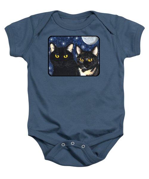 Strangeling's Felines - Black Cat Tortie Cat Baby Onesie
