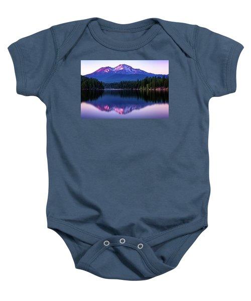 Sunset Reflection On Lake Siskiyou Of Mount Shasta Baby Onesie